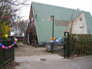 Het huidige clubgebouw van scouting Flevo aan de Pier 3 in Huizen.