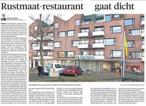 Artikel in de Gooi en Eemlander over aanstaande sluiting restaurant Rustmaat (datum: 21 december 2016)