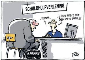 Cartoon van Tom Janssen over Schuldhulpverlening (bron: www.tomjanssen.net)