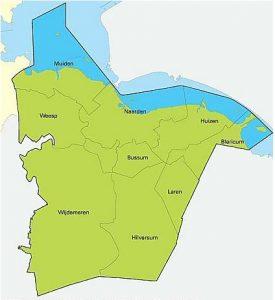 Overzicht van de gemeenten in het Gooi.