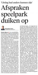 Schermafbeelding krantenartikel Gooi en Eemlander over Oud Valkeveen