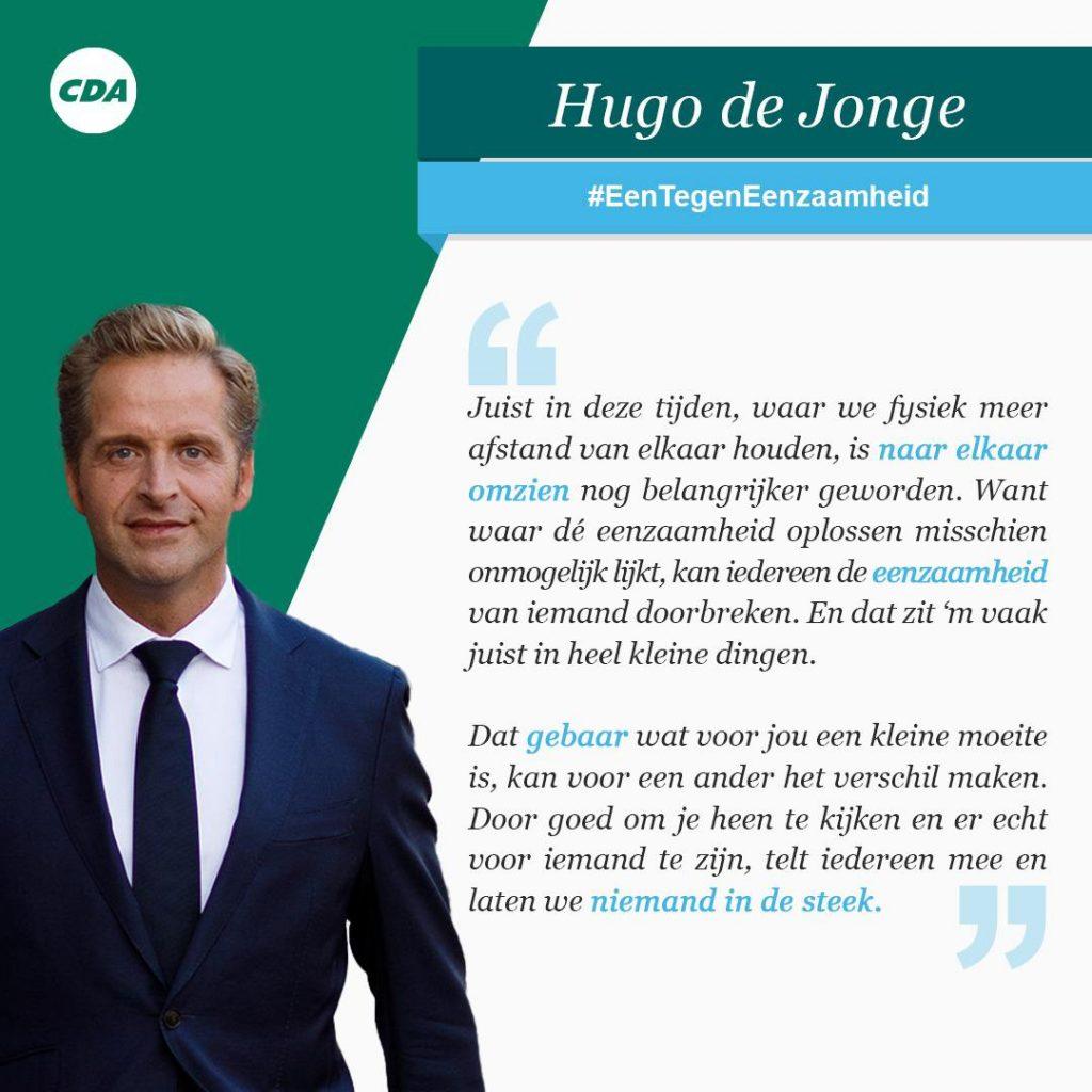 Citaat van partijleider Hugo de Jonge over eenzaamheid